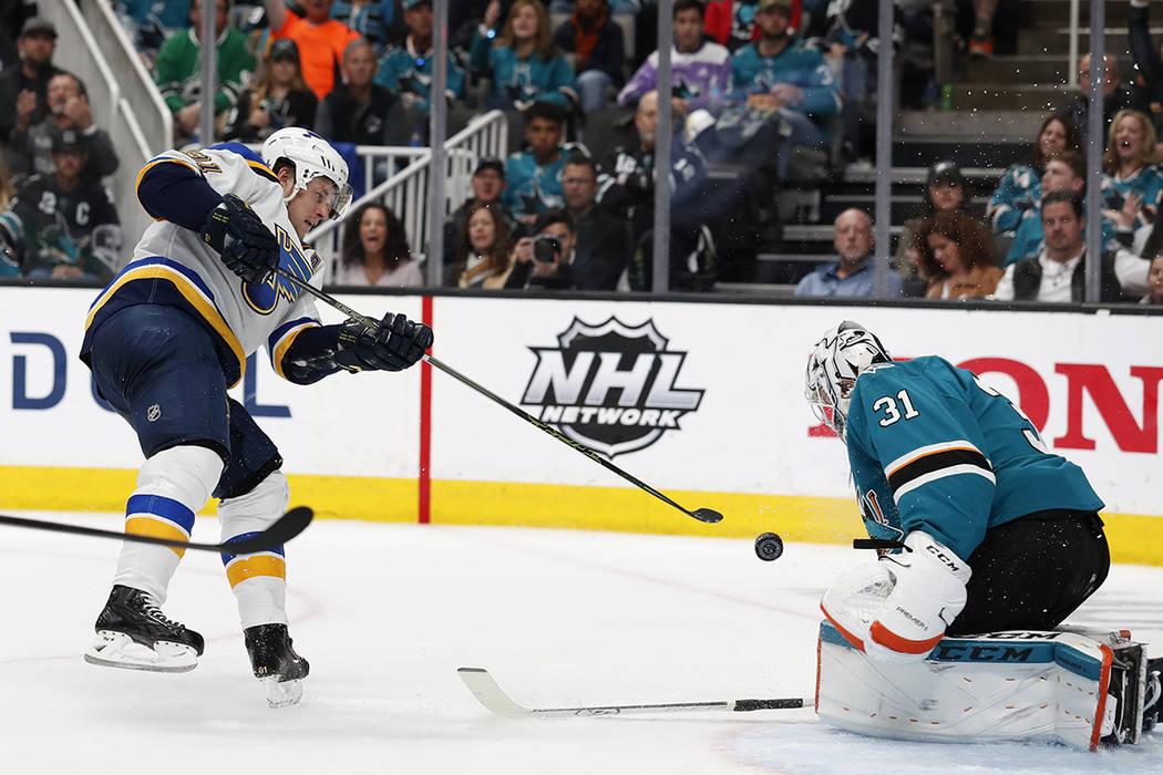 St. Louis Blues' Vladimir Tarasenko (91) shot is blocked by San Jose Sharks goaltender Martin J ...