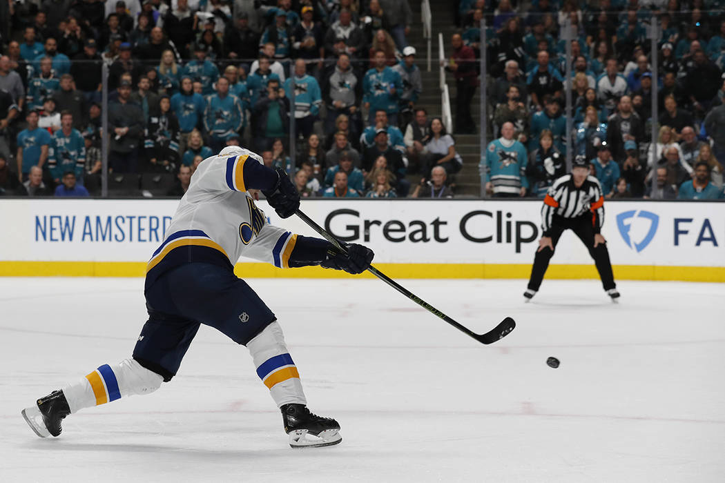 St. Louis Blues' Vladimir Tarasenko (91) scores a goal against the San Jose Sharks in the secon ...