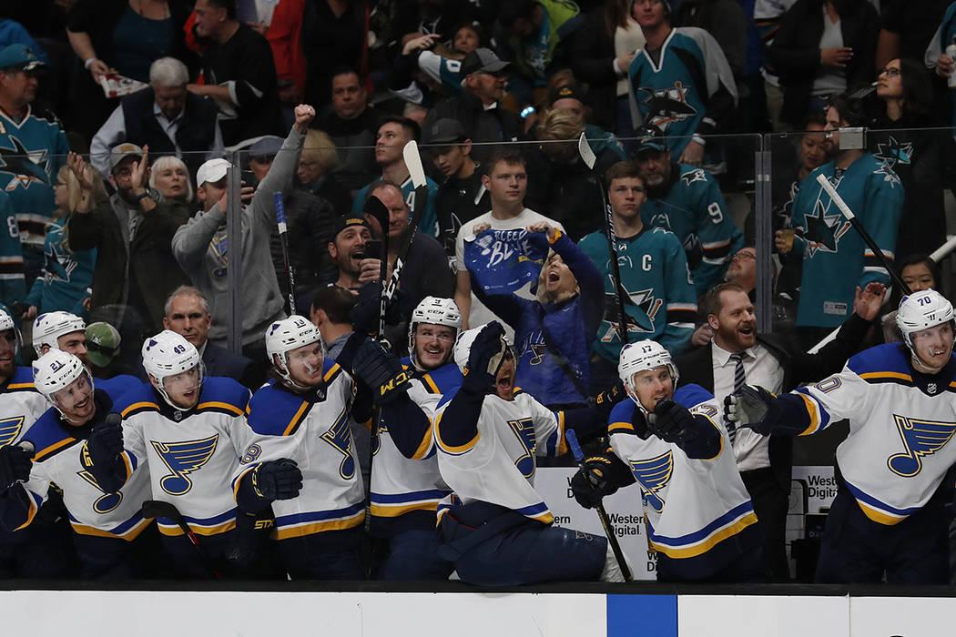 St. Louis Blues' bench celebrates a goal by Vladimir Tarasenko (91), (not shown) against the Sa ...