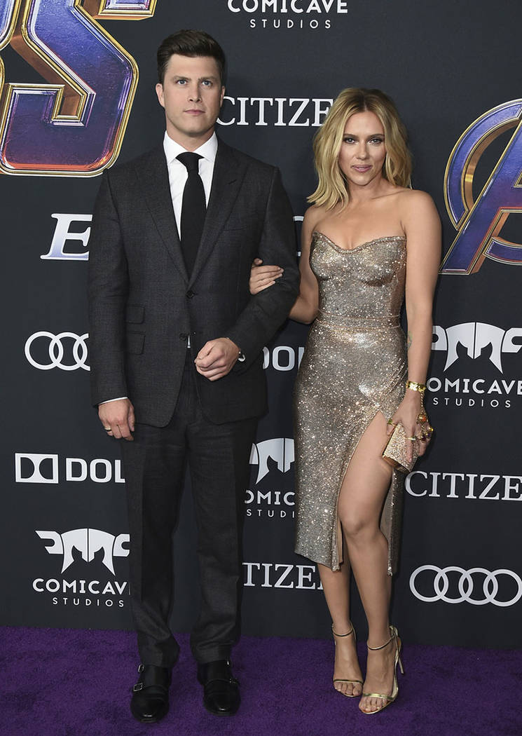 """Colin Jost, left, and Scarlett Johansson arrive at the premiere of """"Avengers: Endgame"""" at the L ..."""