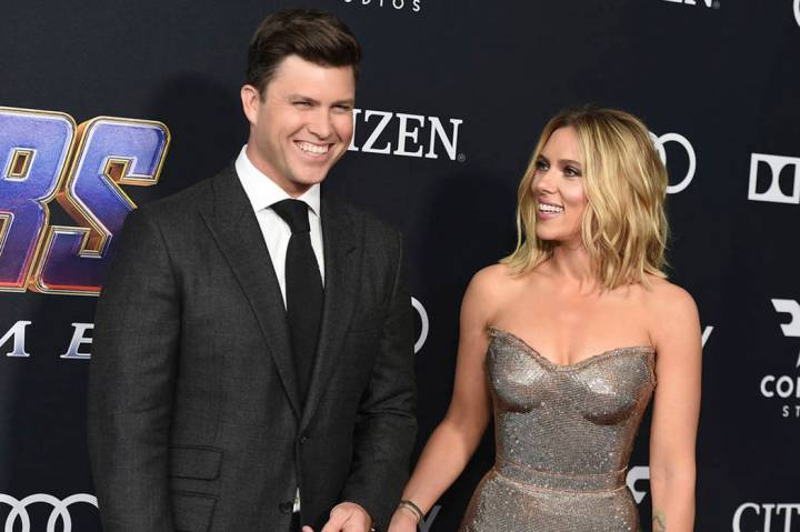 "Colin Jost, left, and Scarlett Johansson arrive at the premiere of ""Avengers: Endgame"" at the L ..."