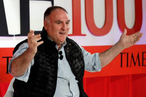 Chef Jose Andres speaks during the TIME 100 Summit in New York, Tuesday, April 23, 2019. (AP Ph ...