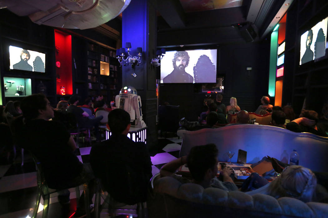"""People watch """"Game of Thrones"""" during a watch party at Millennium Fandom Bar in Las V ..."""