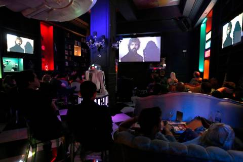 "People watch ""Game of Thrones"" during a watch party at Millennium Fandom Bar in Las Vegas, Sund ..."