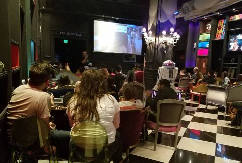 """Game of Thrones"" fans watch the series finale of the popular TV show during a party at Mille ..."