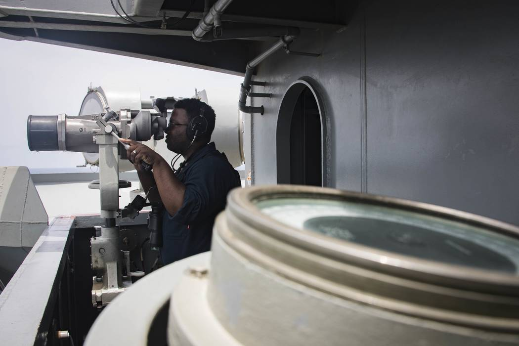 In this Sunday, May 19, 2019, photo released by the U.S. Navy, Boatswain's Mate Seaman Tabari H ...