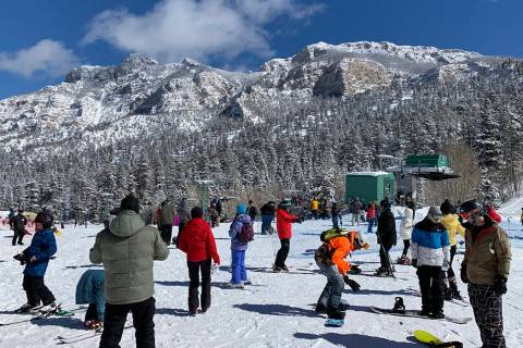 Skiers take advantage of fresh snow at Lee Canyon on Monday, Feb. 18, 2019. In a rare mid-May e ...