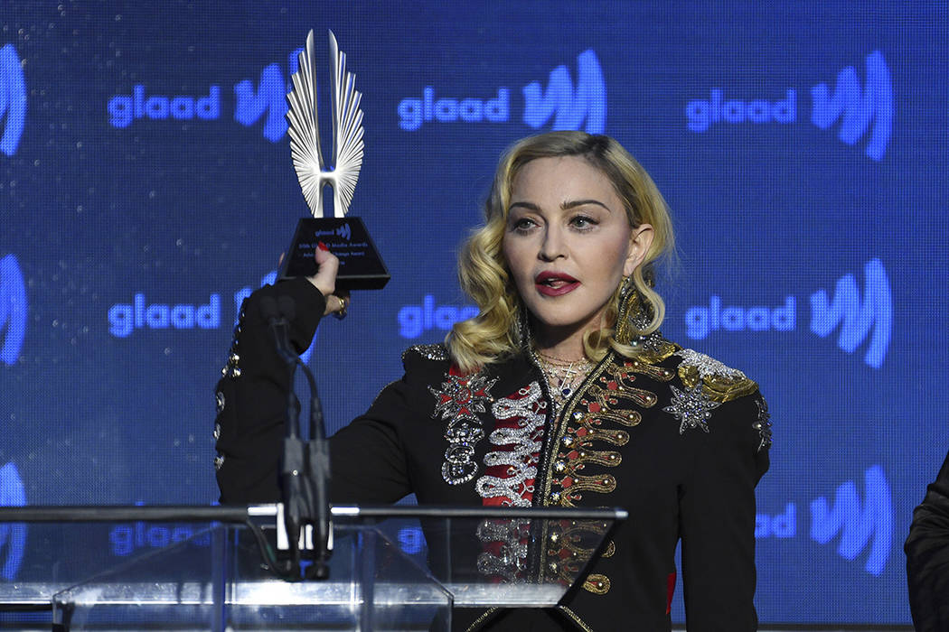 Honoree Madonna accepts the advocate for change award at the 30th annual GLAAD Media Awards at ...