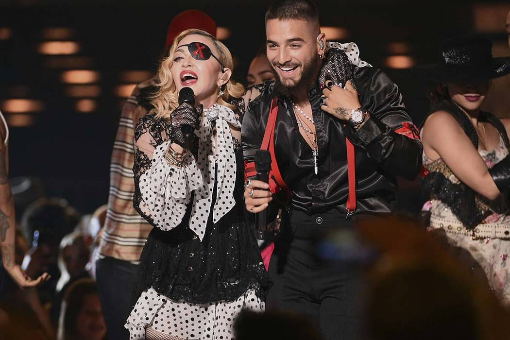 """Maluma and Madonna perform """"Medellin"""" at the Billboard Music Awards on Wednesday, May 1, 2019, ..."""