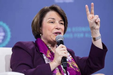 "Presidential candidate Sen. Amy Klobuchar, D- Minn., speaks during ""National Forum on Wa ..."