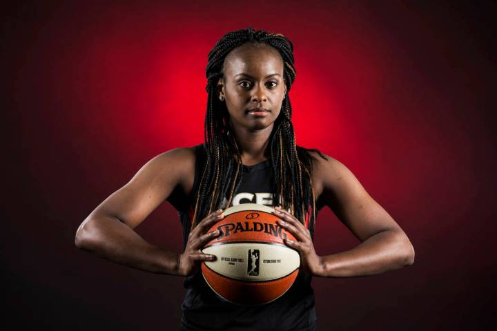 Aces guard Sugar Rodgers during media day on Monday, May 13, 2019, at Mandalay Bay Events Cente ...