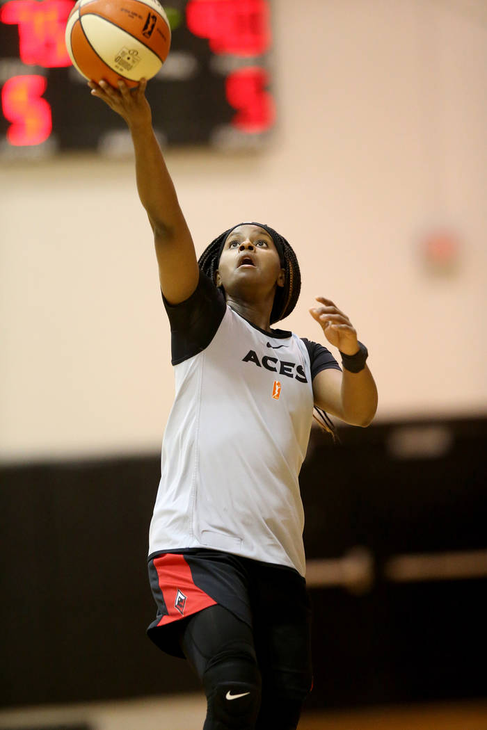 Aces guard Sugar Rodgers during practice at the Cox Pavilion in Las Vegas Tuesday, May 21, 2019 ...
