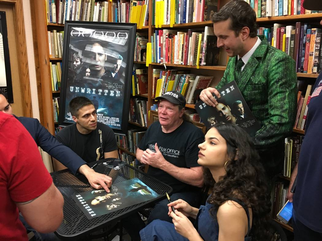 """Meeting """"Unwritten"""" fans are composer Ricardo Gerhard, seated left and director Dale Neven and ..."""