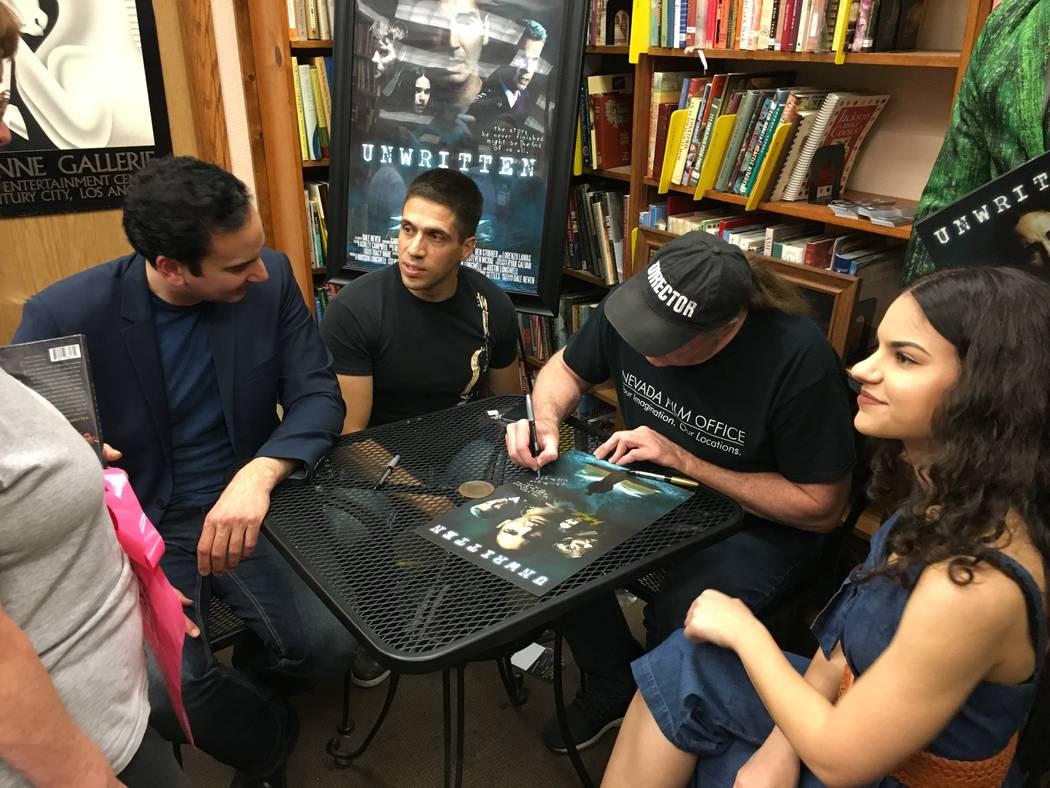 "Meeting ""Unwritten"" fans are actor Gabriel Burrafato, seated far left, composer Ricardo Gerhard ..."