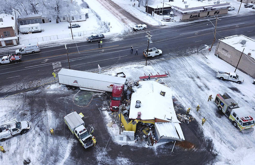 FILE - This Jan. 16, 2019 photo taken by a Utah Highway Patrol drone shows a big rig that has c ...