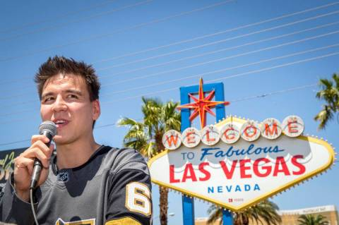 """Jeopardy!"" sensation James Holzhauer speaks after being presented with a key to the Las Vegas ..."
