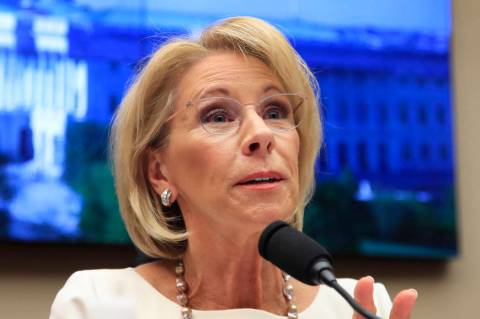 FILE - In this April 10, 2019, file photo, Education Secretary Betsy DeVos testifies on Capitol ...