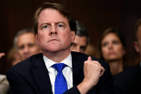White House counsel Don McGahn listens as Supreme court nominee Brett Kavanaugh testifies befor ...