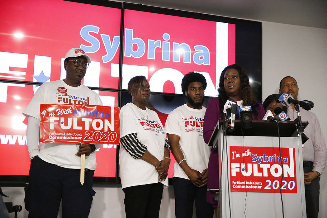 Sybrina Fulton speaks as she announces her run for the District 1 seat of the Miami-Dade County ...