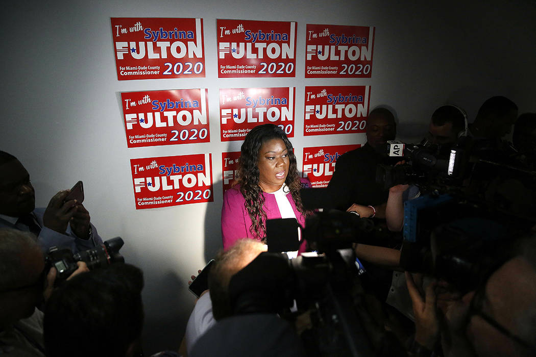 Sybrina Fulton speaks to the media after announcing her run for the District 1 seat of the Miam ...