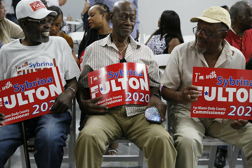 Supporters gather to hear Sybrina Fulton announce her run for the District 1 seat of the Miami- ...