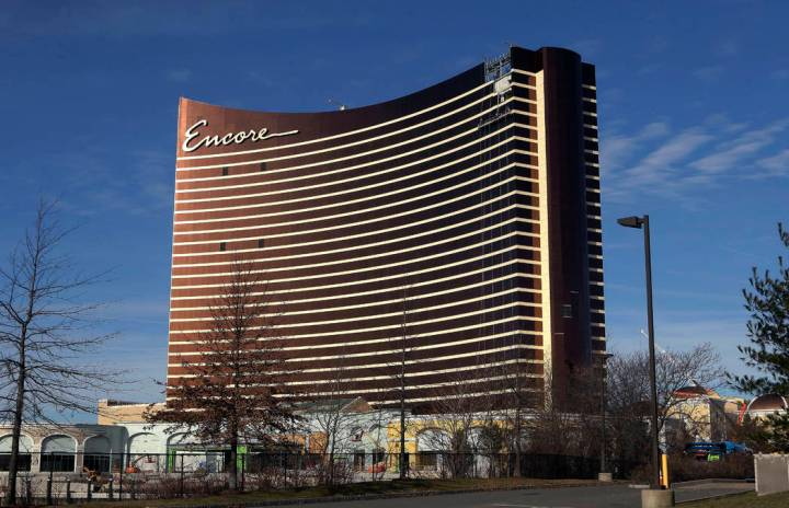 Construction continues on the Encore Boston Harbor luxury resort and casino in Everett, Mass., ...