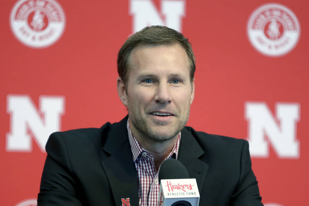 Fred Hoiberg smiles as he is introduced as Nebraska's new NCAA college basketball head coach at ...