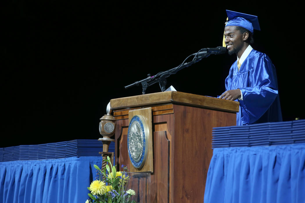 Thomas Calvin speaks during College of Southern Nevada commencement ceremony at Thomas & Ma ...