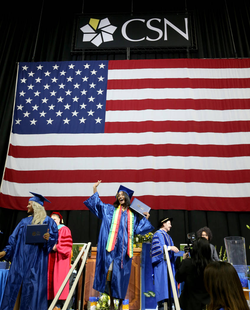Meron Shawul waves to her family after walking across the stage during College of Southern Neva ...