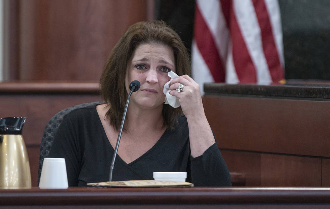 Amber Jones cries from the witness stand while being questioned by 11th Circuit deputy Solicito ...