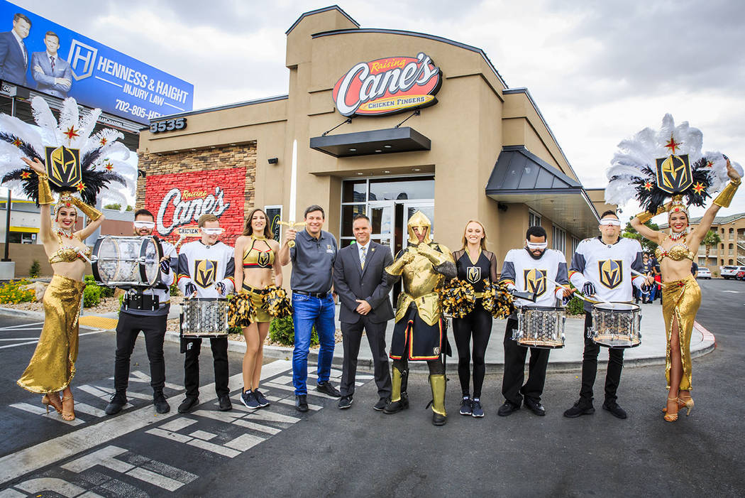 Raising Cane's founder Todd Graves Golden Knights Chief Marketing Officer Brian Killingsworth a ...