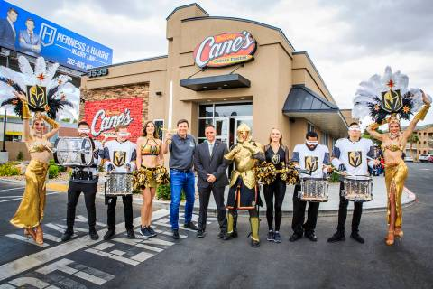 Raising Cane's founder Todd Graves Golden Knights Chief Marketing Officer Brian Killingsworth a ...