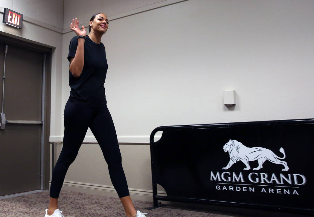Liz Cambage, two-time All Star, and 2018 league MVP runner up, prepares to take the podium duri ...