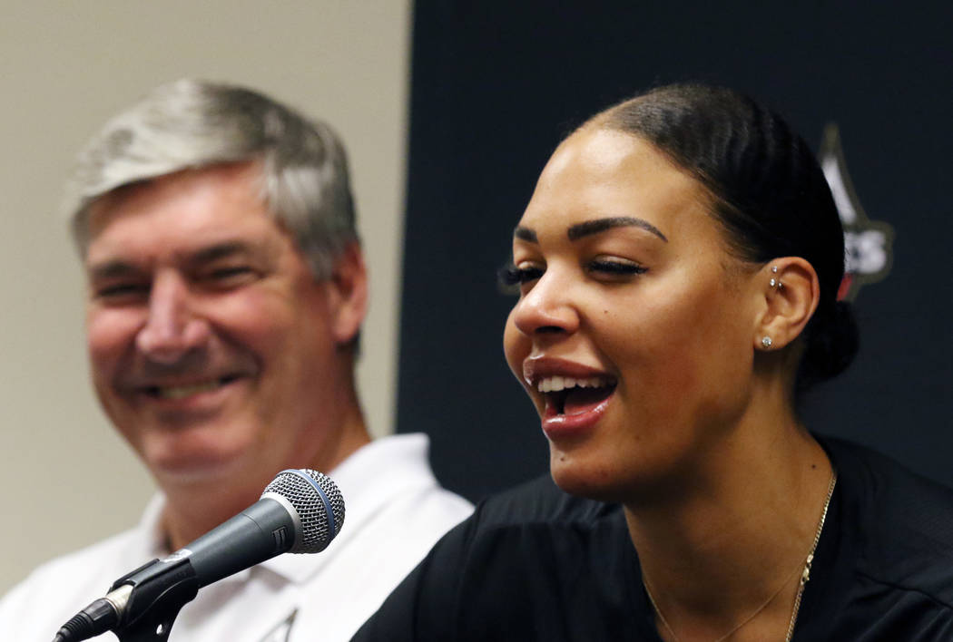 Liz Cambage, two-time All Star, and 2018 league MVP runner up, speaks as Las Vegas Aces' head c ...