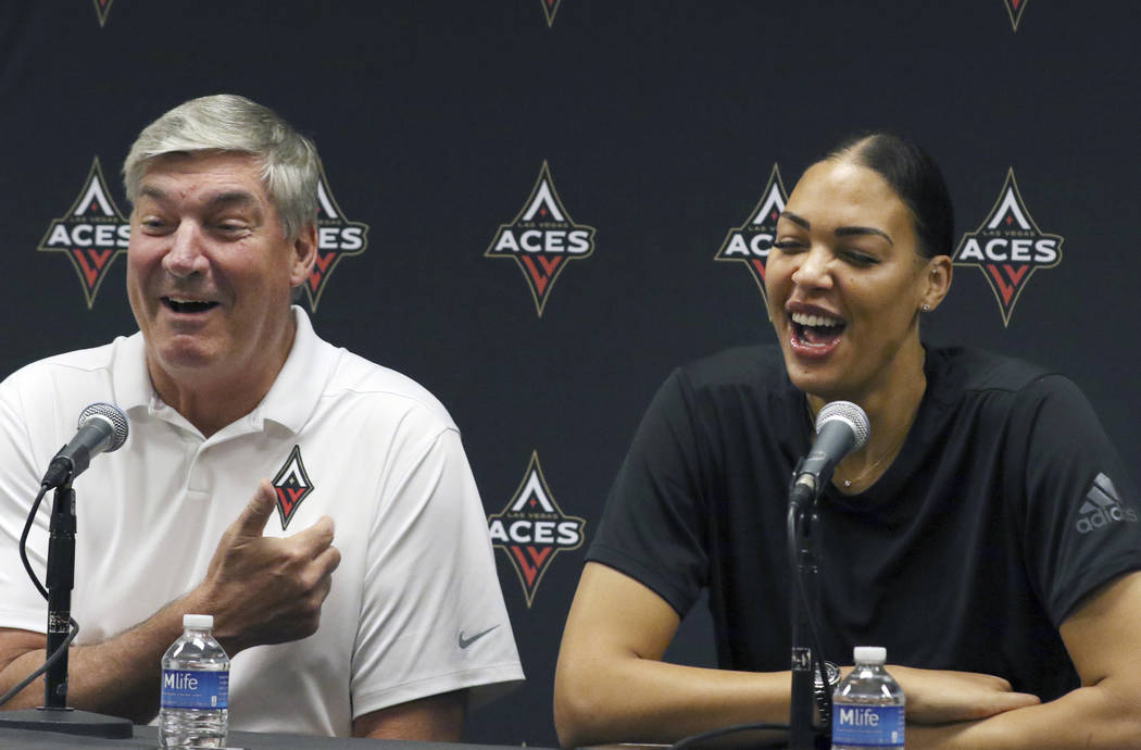 Las Vegas Aces' head coach Bill Laimbeer, left, and Liz Cambage, two-time All Star, and 2018 le ...
