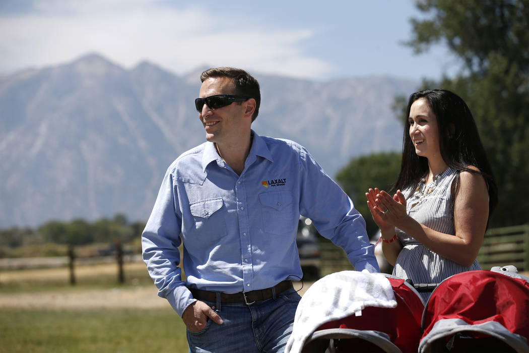 Nevada Attorney General Adam Laxalt and his wife Jaime listen to speakers at the 4th annual Bas ...