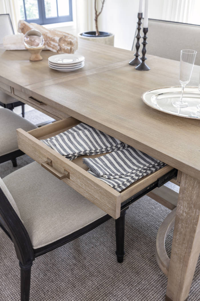 Architectural lines meet 1940s French design in the Gramercy dining table by Nate + Jeremiah. T ...