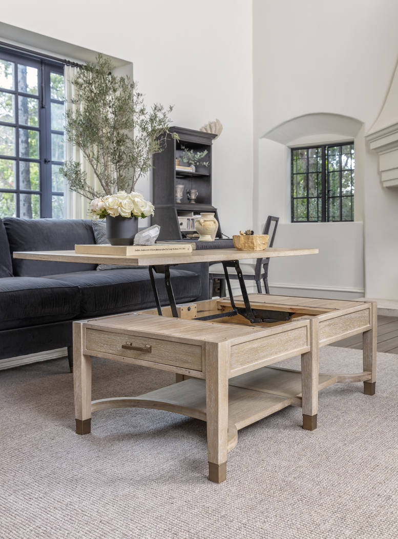 Gramercy lift-top storage coffee table from Nate + Jeremiah balances form and function. The fix ...