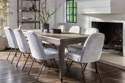 The 72-inch Pavilion dining table by Nate + Jeremiah includes an 18-inch center leaf. The chair ...