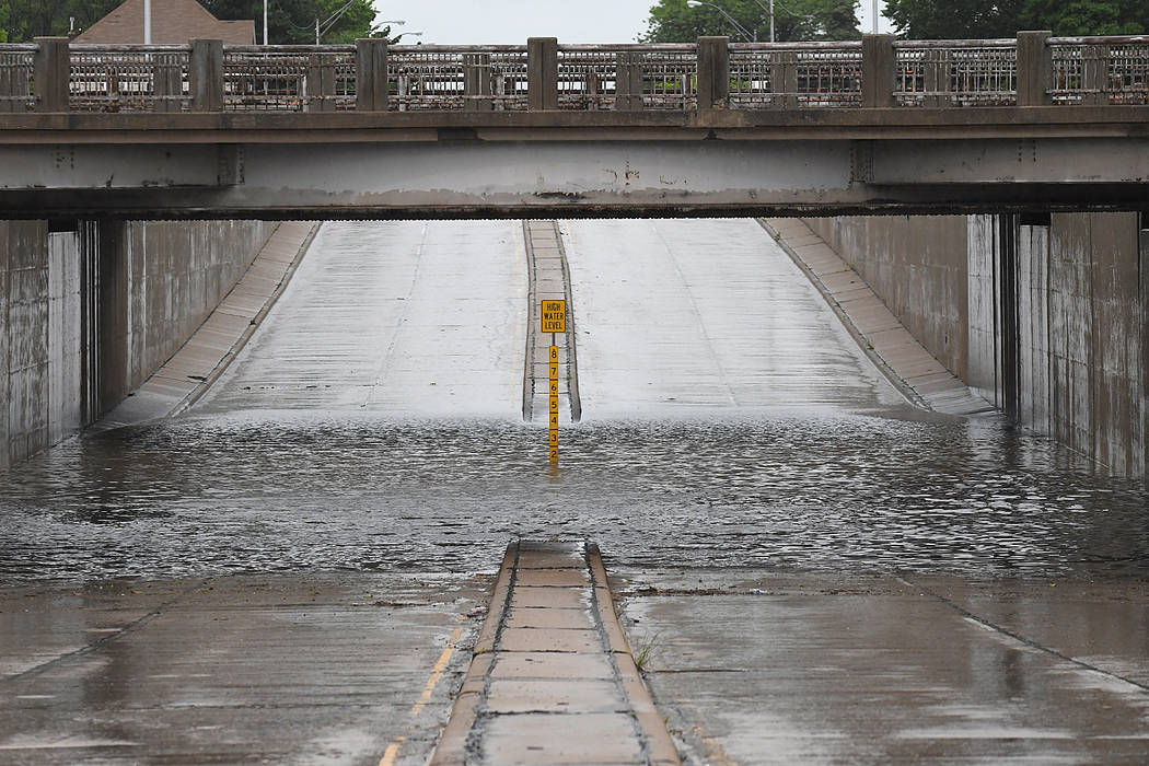 The underpass on north Grand is closed due to high water in Enid, Okla., Monday, May 20, 2019. ...