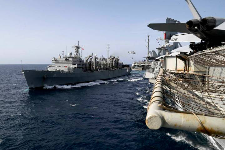 In this Sunday, May 19, 2019, photo released by the U.S. Navy, the fast combat support ship USN ...