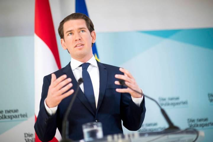 Austrian Chancellor Sebastian Kurz, of the Austrian People's Party, OEVP, addresses the media d ...