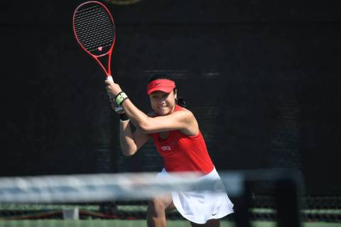 UNLV senior Aiwen Zhu competes in the 2019 Mountain West Women's Tennis Championship takes plac ...