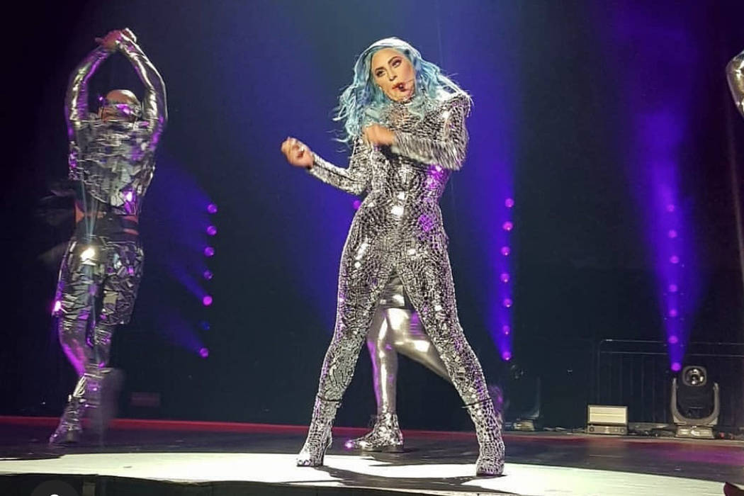 Lady Gaga is shown performing at a private show for Amway's 60th anniversary convention on Mond ...