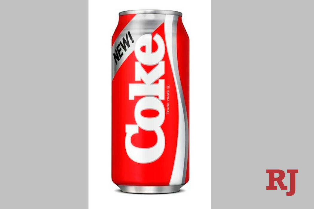 This undated photo provided by Coca-Cola shows a can of New Coke, which was originally launched ...