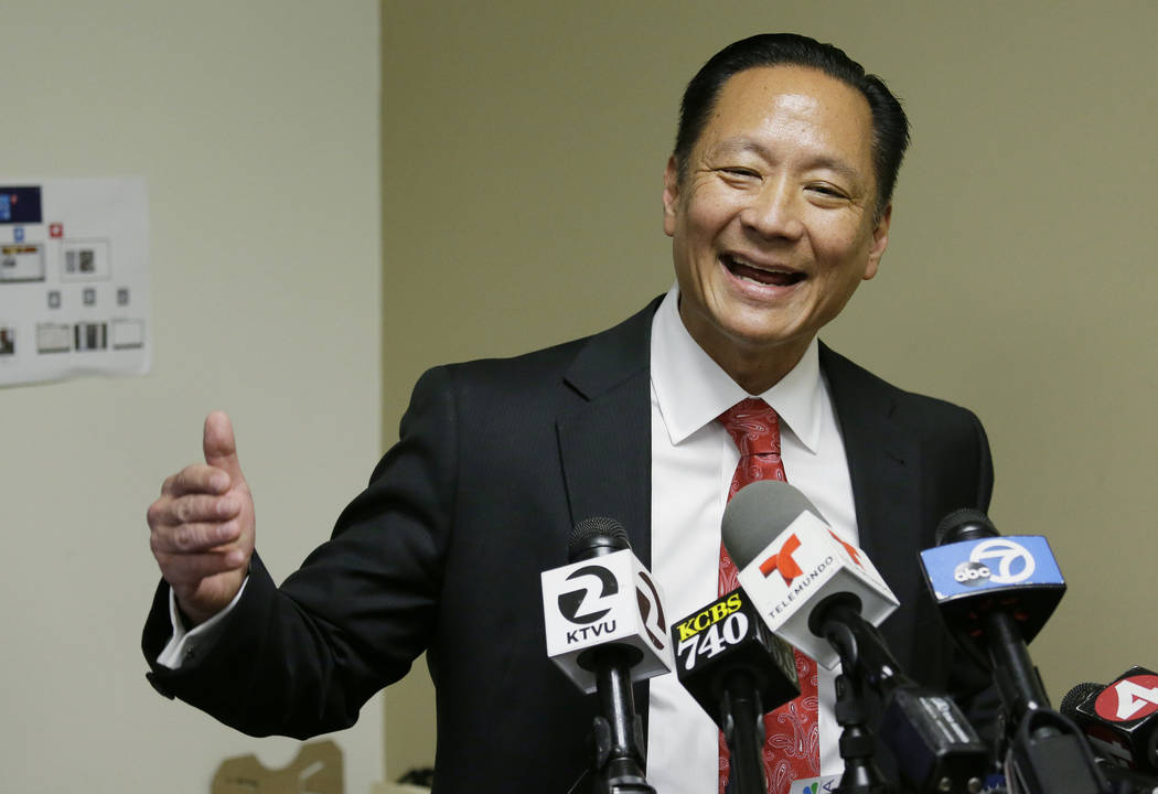 In this April 26, 2016, file photo, San Francisco Public Defender Jeff Adachi gestures during a ...
