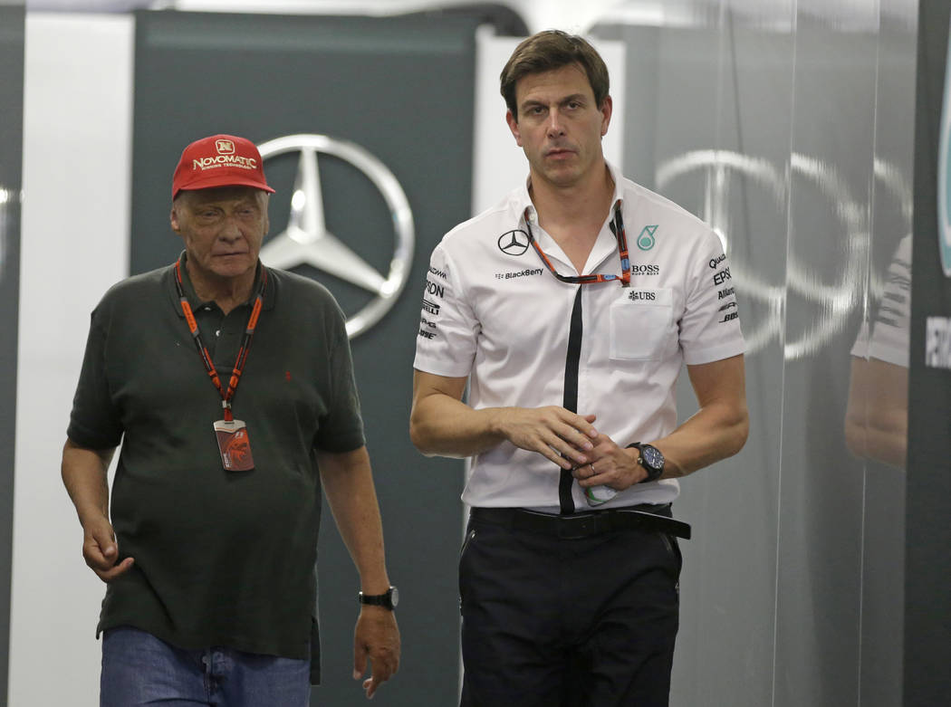 FILE - In this Saturday, Sept. 19, 2015 file photo Head of Mercedes-benz Motorsports Toto Wolff ...