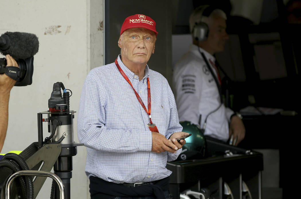FILE - In this Saturday, July 2, 2016 file photo honorary president of Mercedes Niki Lauda look ...