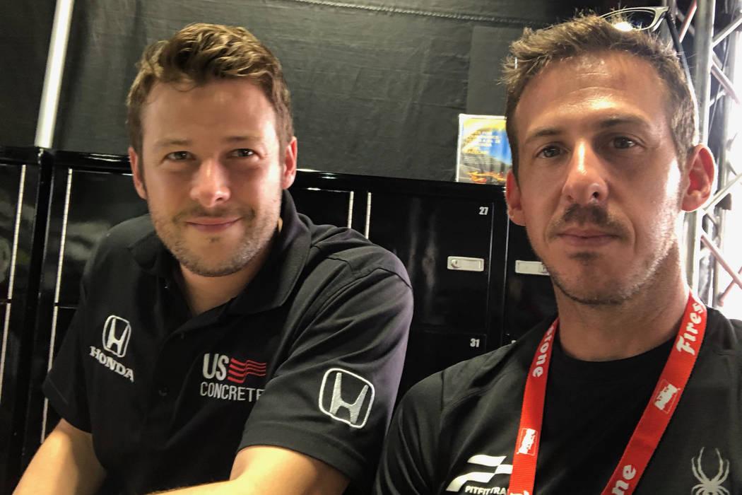 Las Vegan Matt Jaskol, right, will serve as spotter for veteran driver Marco Andretti, left, du ...