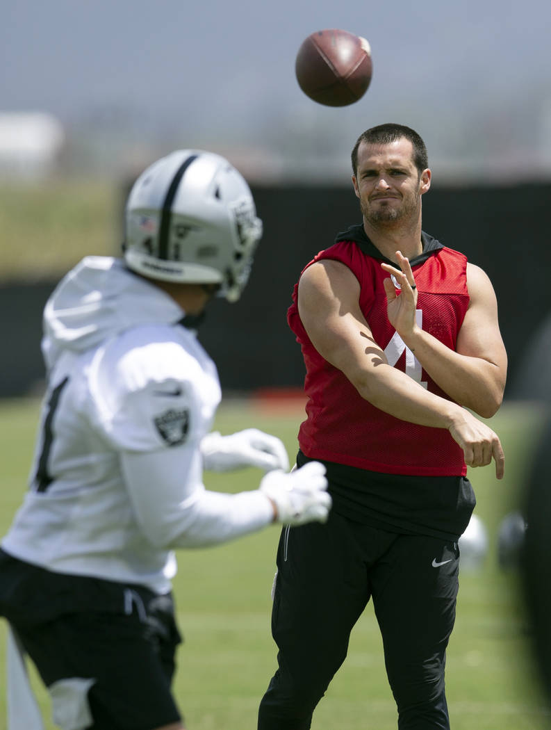 Oakland Raiders quarterback Derek Carr (4) throws a pass during an official team activity, Tues ...